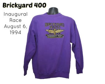 1994 BRICKYARD 400 - Crewneck Sweatshirt - Inaugural Race August 6 - 90s 1990s - Indianapolis Motor Speedway - Indy Nascar Purple Shirt