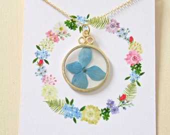 Blue Hydrangea Gold Circle Pressed Flower Necklace