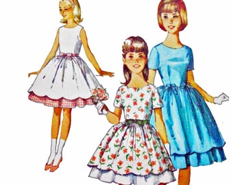Vintage 60s Girls Party Dress Pattern With Scalloped Dirndl Full Skirt 1960s Sewing Pattern Simplicity 5292 Size 8 UNCUT