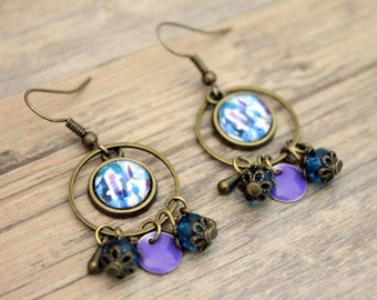 Bohemian earrings purple leaves and Emerald - cabochon