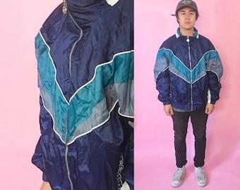Vintage windbreaker size large 1990s 1980s 90s 80s blue green shell jacket nylon track jacket fila