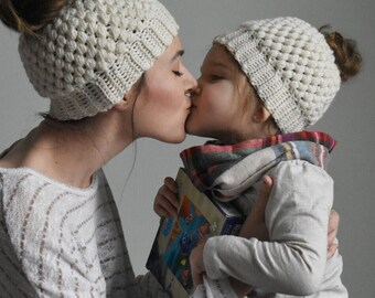 Mommy and Me Messy Bun Hat, Messy Bun Beanie, Top Knot Beanie, Mommy and Me Clothes, Ponytail Hat, Childrens Messy Bun Hat, Crocheted Hat