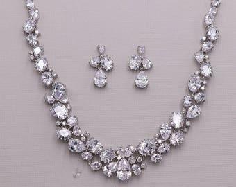 Bridal Jewelry Set CZ Wedding Necklace Cz