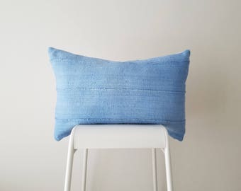 Baby Blue Mudcloth Pillow Cover, Authentic Mali Bogolan, Light Blue