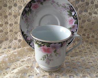Floral China Cup and Saucer, Gold Trim, Made in China