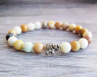 Women bracelet Girlfriend gift|for|her bracelet Amazonite bracelet Fertility bracelet Throat chakra bracelet Elephant bracelet Stone bangle