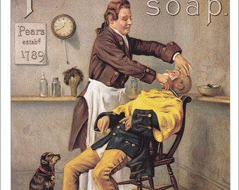 at the barbers barber print barbering vintage Pears Soap advert ad victorian shaving soap clean shaven home decor print 8.5 x 11.5 inches