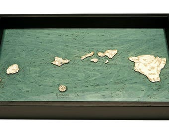 Hawaiian Islands Wooden Topographical Serving Tray