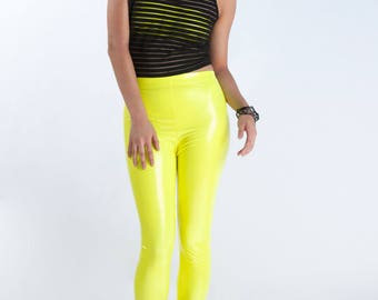 CORONA LEGGINGS - PVC 4-way Stretch Vinyl Shiny Neon Yellow Pants Wetlook Futuristic Cyber Techno Rave Cybergoth Cyberpunk Club Kid edm Plur