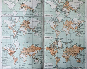 Maps of the history of geography. Old book plate, 1904. Antique illustration. 113 years lithograph. 9'6 x 11'7 inches.