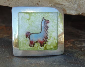 Graziella Laffi ~ Vintage Peruvian Sterling and Enamel Square Brooch with Hand Painted Llama