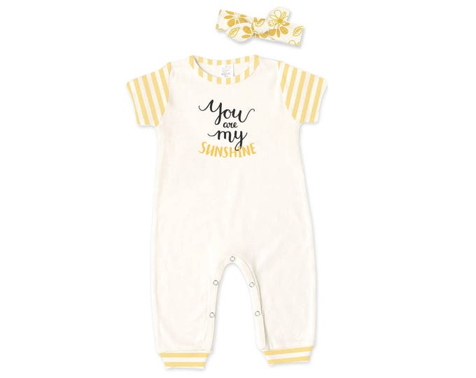 Baby Girl Outfit, Newborn Romper Headband, Yellow Baby Bodysuit and Headband, Short Sleeve Romper, Sunshine, TesaBabe RH860IYMI0913