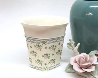 "6-SIDED LAURA VASE is a 4 1/2"" Glazed Off-White Ceramic w/Dainty Shamrocks & Delicate Pink Flowers - Made in Ireland by Royal Tara China"