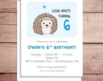 Party Invitations - Hedgehog Invitations - Birthday Party Invitations - Illustrated Invitations - Custom Invitations