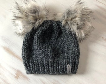 Double Fur Pom Pom Hat // Chunky Hand Knit Beanie  // The Spirit Bear