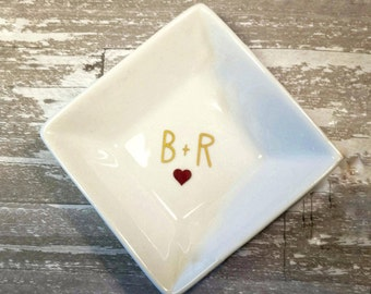 Engagement Ring Dish, Personalized Ring Dish with Initals