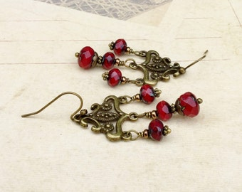 Red Earrings, Red Chandelier Earrings, Garnet Earrings, Victorian Earrings, Czech Glass Beads, Red Jewelry, Womens Earrings, Gifts for Her