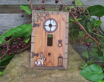 Magical Fairy Door Light Switch Plate Cover - Castle Door Lightswitch Plate - Fairy Pixie Gnome Fanstasy Home Decor - Wood burned