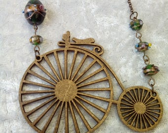 Penny Farthing Bicycle Necklace ~ Steampunk ~ Burlesque ~ Victorian ~ Bronze ~ Glass Beads