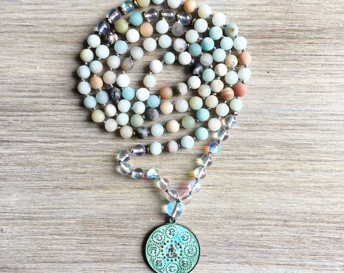 Amazonite Opal Vintage Amulet Mala Beads, 108 Mala, Gemstone, Handmade, Hand-knotted, Meditation, Yoga, Prayer Beads, Chakra