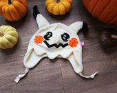Pokemon Mimikyu inspired cute light pale yellow fleece cosplay beanie hat, cool gift for gamer, nerd, geek, anime, manga or pokemonGo fan