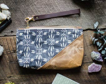 Boho Pathfinder Nomad Waxed Canvas Wristlet / Pouch / Pencil Case / Clutch / Bag / Bridesmaid Gifts for Her Under 30