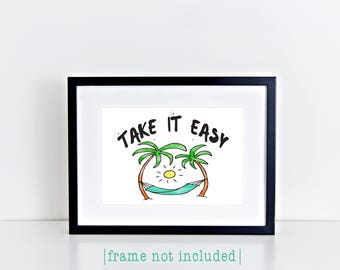 Take It Easy Typography Print Beach Hammock Palm Trees Tropical Decor Peaceful Eagles Lyrics Home Decor Wall Art