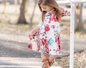 Girl Coral Floral Print Dress, Girl Dresses, Dresses, Twirly Dress, Girls Clothing  Sizes 2/3, 4/5, 6/6X, 7/8, 10/12 Ready to Ship