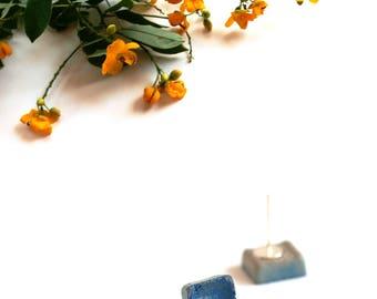 Blue stud earrings for women, Sterling silver earrings, Geometric earrings, Minimalist Concrete earrings, Cube earrings Cement jewelry gifts