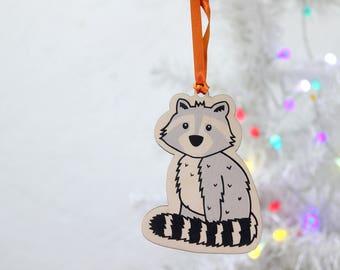 Raccoon Decoration, Christmas Tree Ornament, Woodland Critter Decoration, Animal Ornament, Monochrome tree Decoration, Wooden Bauble