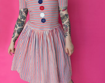 1940s Dress / 40s Patriotic Striped Dress / Red White Blue Victory