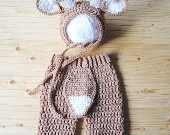 Baby Deer Costume, Newborn Deer Hat, Deer Bonnet, Antler Bonnet, Deer Hat, Knit Deer Outfit, Crochet Deer Hat, Newborn Photography Outfit