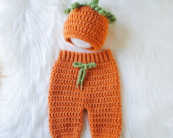 Pumpkin Hat, Newborn Pumpkin Costume, Baby Halloween Costume, Baby Pumpkin Costume, Crochet Pumpkin Hat, Thanksgiving Hat, Newborn Outfit