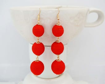 Red Ball Statement Earrings
