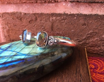 Beautiful Smoky Quartz 925 Sterling Silver Plated Bangle Bracelet Arm Cuff Tribal Boho Festival Healing Crystals Gemstones