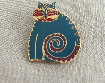 "Vintage Laurel Burch ""Mythical Cat"" Pendant/Brooch - Teal and Gold"