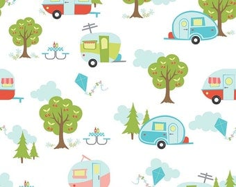 Glamper-licious Camper Fabric on White