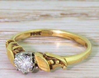 Mid Century 0.30 Carat Round Brilliant Cut Diamond Engagement Ring, dated 1967