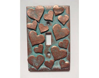 Hearts Stone or Copper/Patina Light Switch Cover (Custom)