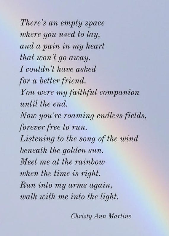 Pet Gift Sympathy Gifts Loss of Dog or Cat - Pet Print - Poem by Christy Ann Martine
