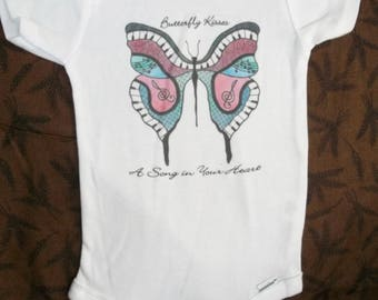Music inspired Butterfly art onesie or child's tee.  Hand drawn unique item on 100% cotton made to order.