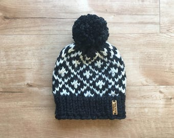 Kids Black + White Tweed Fair Isle Diamond Pattern Knit Winter Hat + Pom Pom