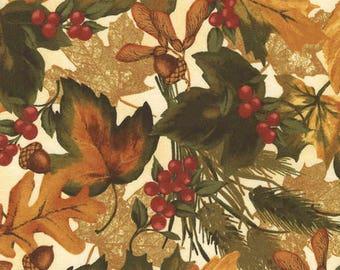 Cream Fall Leaves Fabric Yardage. Timeless Treasures. Fall Fabric. Thanksgiving fabric. Fall Quilt Fabric. Botanical Fabric. Rustic Fabric.
