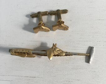 Vintage Polo player tiebar and cufflinks with horse Hickok USA