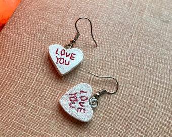 Love You Earrings, 1980s, Vintage Earrings, 80s Heart Earrings, Valentines Day, OOAK, Heart Candy Earrings, Clay, Vintage Handmade