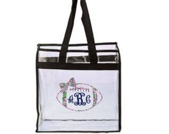 Clear Stadium Bag - Clear Football Stadium Bag With Madras Decal, Clear Stadium Tote Bag, Game Day Clear Bag, Customized Clear Bag