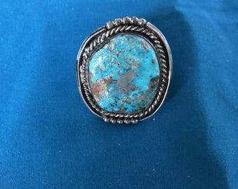 Large Turquoise Sterling Silver Ring  Probably Silver matrix within the turquoise   18.90 grams