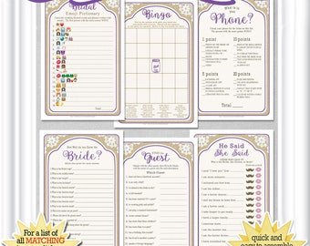6 GAME BUNDLE for a fun, easy Country/Rustic Bridal celebration-save 60%, purple accents, Emoji, Phone Game, Find the Guest, Bingo, etc.51BR