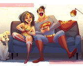 Superman and Wonder Woman VIDEO GAMES Premium Print with Embellishments