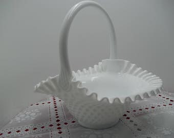 "Vintage 9 1/2"" FENTON Hobnail Milk Glass Candy Bowl Basket w/ Handle & Crimped Edge"